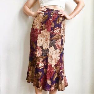 Vintage floral textured skirt